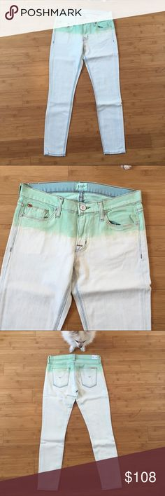 "Hudson Krista Skinny Crop Jean in Pale Jade Ombré These jeans are NWOT! They have never even been tried on. Only removed from package to take photos and measure. These jeans are very unique. At the top they have a light green that fades into white. The white almost looks as though it was bleached from blue. These jeans are approximately 15"" across the waist when laid flat. They are 35 1/2"" long with a 26"" inseam. They are 98% cotton, 2% elastane.  🐶Pom not for sale🐶 She's a helper❤️ Hudson…"