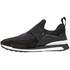 HOGAN REBEL 20mm Suede & Neoprene Slip-On Sneakers - Black (350 AUD) ❤ liked on Polyvore featuring shoes, sneakers, black, black slip-on shoes, camouflage slip on shoes, slip on sneakers, camo sneakers and suede sneakers