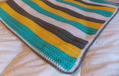 great colors for boy blanket   Made to Order Yellow Grey Blue and White by ComfyCozyCreation, $45.00