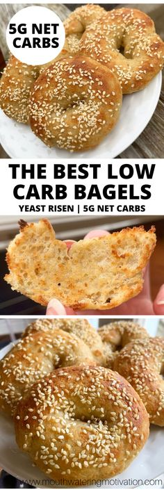 The Best Low Carb Bagels are made with almond flour, vital wheat gluten and yeast. They are easy to prepare and taste delicious! A perfect keto breakfast. Low Carb Bagels, Keto Bagels, Keto Bread, Ketogenic Recipes, Low Carb Recipes, Bagel Recipe, Low Carb Breakfast, Breakfast Recipes, Low Sugar