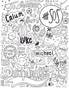 5 Seconds Of Summer Coloring Pages Michael Clifford, 5 Seconds Of Summer, Michaels Paint, 5sos Fan Art, 5sos Wallpaper, 5sos Lyrics, Summer Coloring Pages, 5sos Pictures, Lyric Art