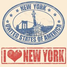 Conjunto de sellos de goma del grunge con Nueva York