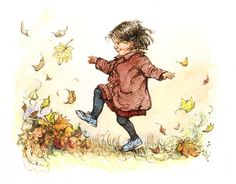 """""""Kicking Leaves"""" by Shirley Hughes"""
