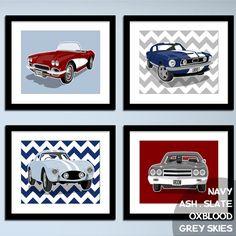 Childrens art - transportation wall art - chevron sports cars - boys art prints - nursery art prints - pick your colors