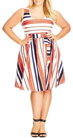 Plus Size Women's City Chic 'Fresh Stripe' Sundress, Size Medium - Ivory