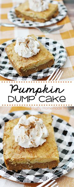 This amazing Pumpkin Dump Cake recipe is so easy for fall! Pumpkin pie batter topped with dry cake mix and butter - don't forget the whipped cream! No Cook Desserts, Homemade Desserts, Easy Desserts, Delicious Desserts, Pumpkin Pie Mix, Pumpkin Dessert, Pumpkin Puree, Dump Cake Recipes, Party Recipes