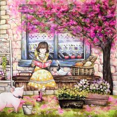 FinishedThe reading girl under the floweing treeNew video is uploaded ... #romanticcountry #prismacolorpremier #romanticcountry3 #eriy #coloringbook #coloring #coloriage #colouringforadults #prismacolor #coloredpencils #adultcoloring #shirleytutopia #coloringtutorial #塗り絵の本 #大人の塗リ絵 #著色本 #Målarbok #Malbuch
