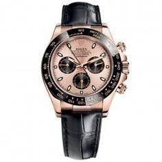 Replique Rolex Daytona cadran rose 18k or rose bracelet en cuir 116515LNR
