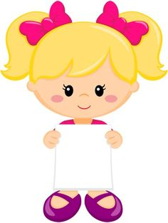 Girl w/pink hair bows Diy And Crafts, Crafts For Kids, Paper Crafts, Image Clipart, Kids Background, School Labels, Blog Backgrounds, School Clipart, Kids Education