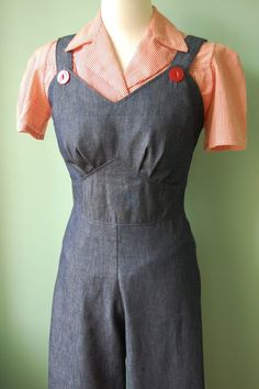 Vintage Overalls 1910s -1950s Pictures and History 1940s 40s vintage style navy cotton denim overalls  CUSTOM MADE $138.00 AT vintagedancer.com