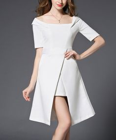 Look at this White Wrap-Front A-Line Dress on #zulily today!