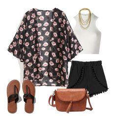 Black Floral Chiffon Loose Kimono-SheIn