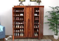 Buy Ruben Shoe Rack (Teak Finish) Online in India - Wooden Street Wooden Shoe Cabinet, Wooden Shoe Racks, Kitchen Storage Boxes, Tall Cabinet Storage, Shoe Storage Solutions, Wooden Street, Wood Architecture, Diy Bench, Stand Design