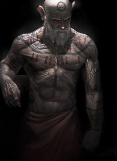 Human male, bald head, white beard, no shirt, tattoos on chest and shoulders. (Wizard's Lamentations by *Rhineville on deviantART.)