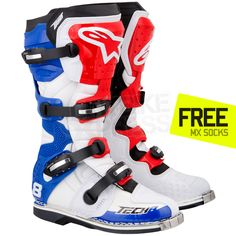 Alpinestars Tech 8 RS Boots - White Red Blue