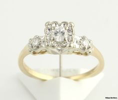 Vintage .26ctw Diamond Engagement Ring - 14k Yellow & White Gold Polished Band