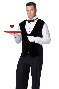 Butler Adult Male Costume Description: How can I be of service to you? Move over Jeevs, there is a new butler in town. The Butler costume includes a white l Funny Halloween Costumes, Adult Costumes, Butler Costume, Las Vegas, Costume Shop, White Gloves, White Long Sleeve, Have Time, The Ordinary