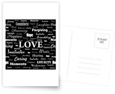 """Love is Black & White"" Postcard by George Barakoukakis. Dims: 100mmx150mm. 300gsm card with a satin finish. Superior writing surface for your words of wisdom. Discount of 20% on every order of 8+ cards"