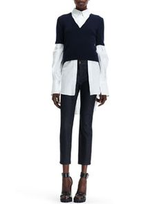 -53MC Alexander McQueen Knit-Sweater Over Woven-Blouse Combo Top & Side Contrast-Stripe Cropped Jeans