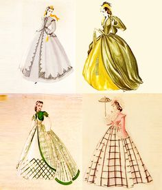 Gone With the Wind costume sketches by Walter Plunkett