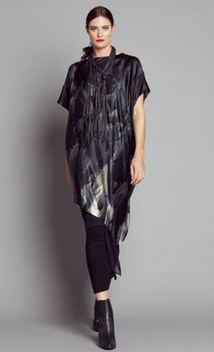 FEATHER SILK LONG ASYMM DRAPE TUNIC 2341L.3202
