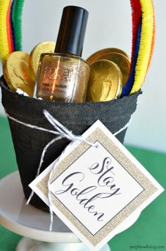 Stay Golden St. Patrick's Day nail polish gift - perfect for teachers, family or friends!