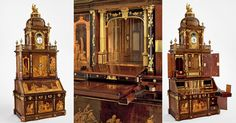 One of the finest achievements of European furniture making, this cabinet is the most important product from Abraham (1711-1793) and David Roentgen's (1743-1807) workshop. A writing cabinet crowned with a chiming clock, it features finely designed marquetry panels and elaborate mechanisms that allow for doors and drawers to be opened automatically at the touch…