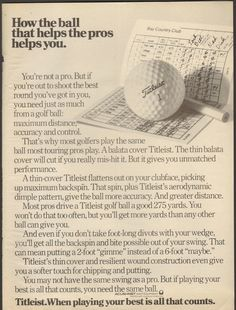 1976 Print Advertisement Ad Titleist Golf Ball helps the pros help you - Advintage Plus