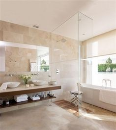 Bathroom:Brown Marble Wall Tile Glass Devider Modern Bathroom Design Calm And Beautiful Neutral Bathroom Interior Design Travertine Bathroom, Wood Bathroom, Bathroom Renos, Bathroom Colors, White Bathroom, Modern Bathroom, Small Bathroom, Bathroom Vanities, Bathroom Canvas