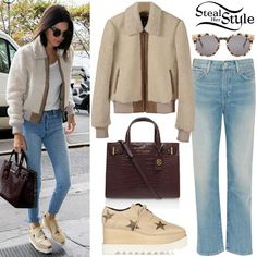 Kendall Jenner arriving at Angelina in Paris.Designers Remix Saturday Jacket (€1,210.00), Levi's Vintage Jeans ($59.00 – similar style), Komono The Lulu Ivory Demi Sunglasses (€79.95), a Croc London Tote by Kurt Geiger (£235.00) and a pair of Stella McCartney Elyse Lace-Up Platforms Shoes ($795.00).