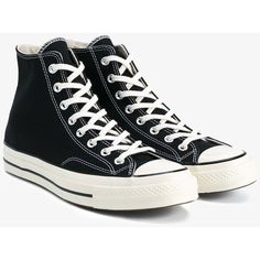 Converse Chuck Taylor All Stars 70S (€66) ❤ liked on Polyvore featuring shoes, sneakers, converse shoes, black trainers, converse sneakers, kohl shoes and black sneakers