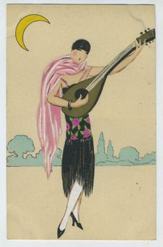 Art dECO Flapper Moon Guitar Music old 1920s postcard