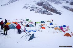 Heavy snowfall at Camp 2 on Peak Lenin.