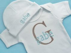 Baby Boy Custom Monogrammed Onesie or Infant by BabyChichiBoutique, $29.00