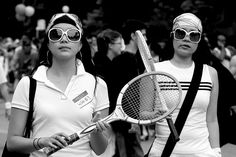 Photo of old tennis outfit sisters sunglasses twin wife 3, San Francisco, Photo, Leica, Street, USA by San Francisco Photographer Manuel Guerzoni
