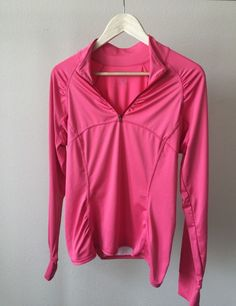 Athleta Womens Size Large Athletic Top Pink Long Sleeve Zip Pullover Active   | eBay