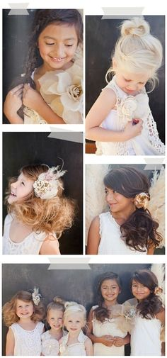 flower girl hair - top right one for kinz? Best Picture For junior bridesmaid hair mixed For Your Ta Teenage Hairstyles, Flower Girl Hairstyles, Little Girl Hairstyles, Wedding Hairstyles, Pretty Hairstyles, Hair Comb Wedding, Headpiece Wedding, Wedding Updo, Brides And Bridesmaids