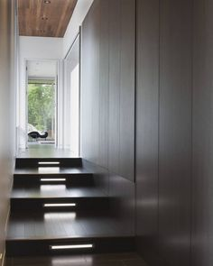 wooden stairs with light