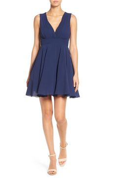 TFNC V-Neck Fit & Flare Dress available at #Nordstrom