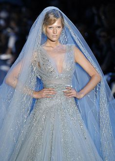 elie saab haute couture. blue wedding dress