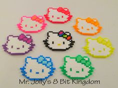 Hello Kitty perler beads by Mr. Perler Bead Designs, Easy Perler Bead Patterns, Melty Bead Patterns, Perler Bead Templates, Hama Beads Design, Diy Perler Beads, Perler Bead Art, Beading Patterns, Hama Beads Coasters