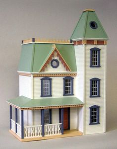 See the 1 inch scale Lilliput Apple Blossom unfinished dollhouse kit by Real Good Toys. This Victorian dollhouse is one of most popular in America! Victorian Dolls, Victorian Dollhouse, Victorian Houses, Wooden Dollhouse Kits, Dollhouse Miniatures, Dollhouse Ideas, Real Good Toys, Houses In America, Clapboard Siding