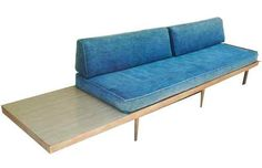 Mid Century Modern Wood Daybed Sofa with Side Table | eBay