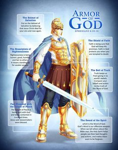 An illustration of the whole Armor of God, taken from the epistle of Apostle Paul in Ephesians A merchandise poster for The Word Cadets. Armor of God Christian Warrior, Christian Life, Helmet Of Salvation, Bibel Journal, Ephesians 6, Psalms, Armor Of God, Bible Knowledge, Prayer Warrior