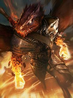 Artist: Pascal Quidault aka kido421 - Title: Zmey adv - Card: Anxious Blaze Zmeu (Fire-Fist)