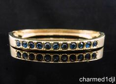 "Vintage Sapphire Blue Rhinestone Gold Plated Hinged Bangle Bracelet 6 3/4""L FAB! $28.00"