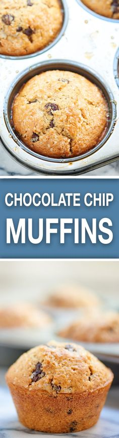 Looking for moist, jumbo, bakery style muffins? Good! These Chocolate Chip Muffins are for you! They're easy to make and there's chocolate in every bite. showmetheyummy.com #breakfast #muffin