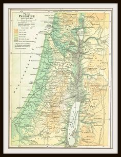 Antique Map PALESTINE HOLY LAND 1940 Map Page by KnickofTime