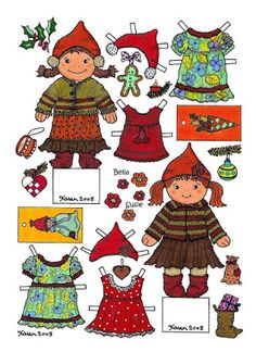 Karen`s Paper Dolls: Bella and Susie Christmas Cut-outs to Print in Colours. Bella og Susie Jule klippeark til at printe i farver.