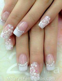 Nail art Christmas - the festive spirit on the nails. Over 70 creative ideas and tutorials - My Nails Glittery Nails, Pink Nails, 3d Nails, Cute Nails, Acrylic Nails, Wedding Nail Colors, Wedding Nails Design, Nagel Bling, Bridal Nail Art